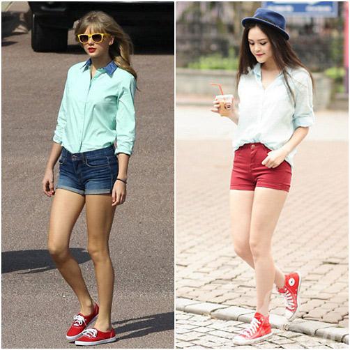 Á Hậu Việt 'học lỏm' thời trang của Taylor Swift