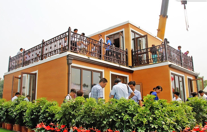 Choáng váng biệt thự hai tầng xây trong 3 tiếng tại Trung Quốc