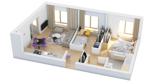 Các mẫu căn hộ nhỏ có 2 phòng ngủ