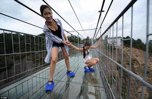 Cầu treo trong suốt vắt qua vực núi không dành cho người yếu tim