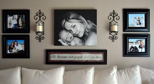 12 cách treo nhiều ảnh gia đình trong nhà