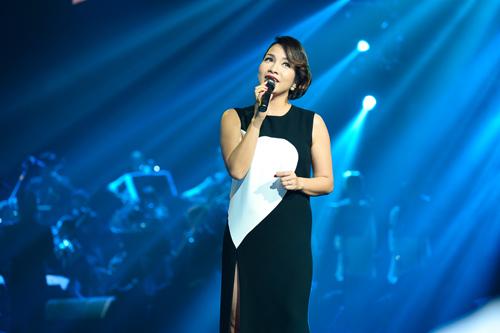 Mỹ Linh mặc váy xẻ họa tiết trái tim trong đêm nhạc diva