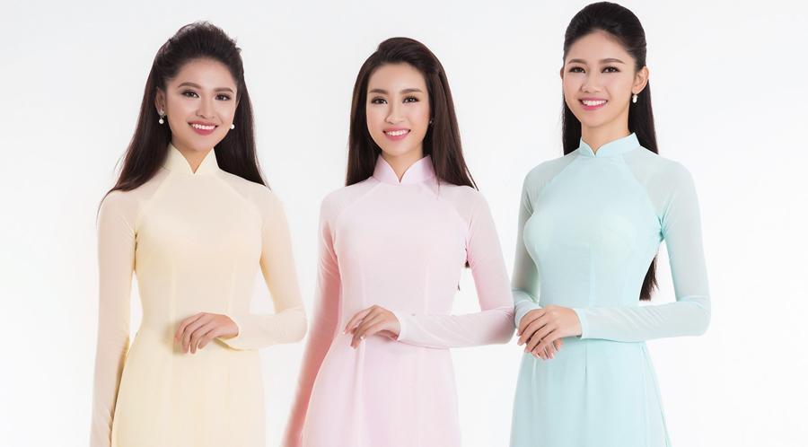 Hoa hậu Việt Nam duyên dáng cùng áo dài pastel