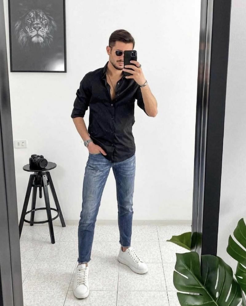 Cảm hứng lên đồ cực sành điệu và nam tính với mốt áo sơ mi đen phong cách