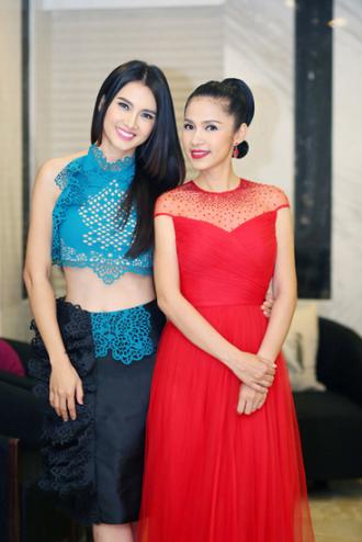 Việt Trinh, Jennifer Phạm sang trọng quý phái với đầm đỏ