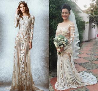 Những bộ váy cưới đụng ý tưởng đình đám của sao Việt