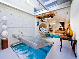 Hình ảnh căn nhà có bể bơi trong phòng khách