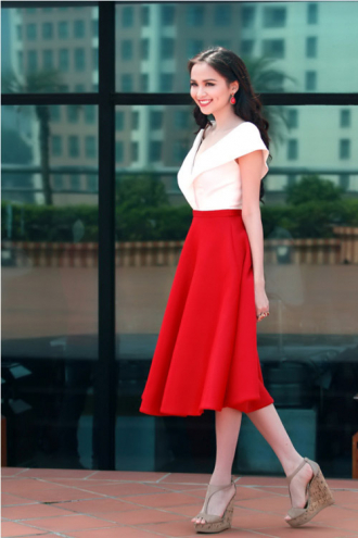 Chân váy đầm midi hàn quốc cho nàng cao gầy