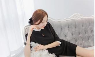 Váy đầm voan liền xòe phong cách Hàn Quốc
