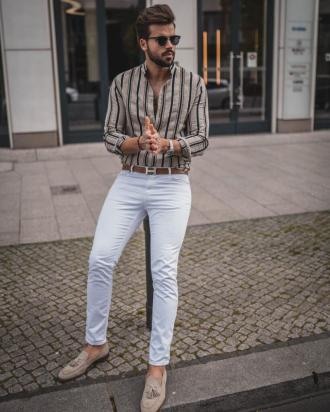 Bắt trend với quần jeans trắng giúp chàng xuống phố cá tính