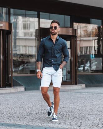 Cảm hứng phối áo sơ mi cùng quần short cho chàng xuống phố tự tin